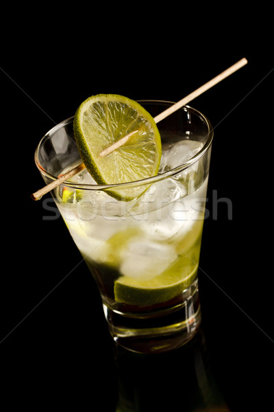 Vodka with lime and ice Stock photo © grafvision