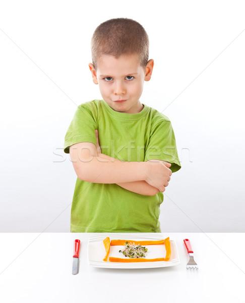 Chłopca jedzenie żywności odizolowany biały Zdjęcia stock © grafvision