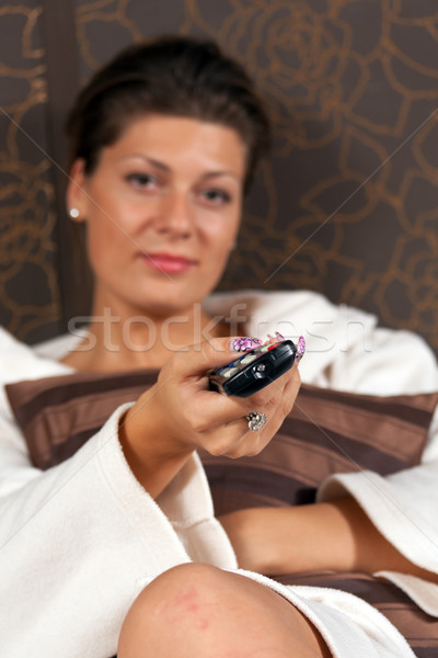 woman relaxing and watching TV Stock photo © grafvision