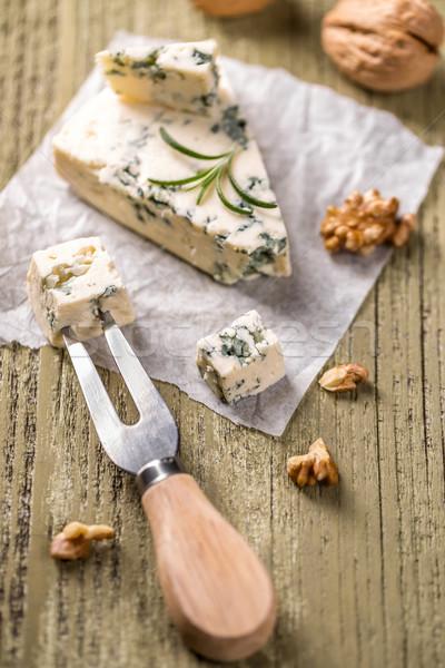 Queijo azul mesa de madeira queijo garfo Foto stock © grafvision