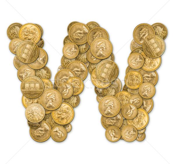 List w złote monety ceny odizolowany biały metal Zdjęcia stock © grafvision