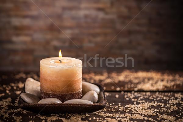 Pietre aromatico candele tavola salute sfondo Foto d'archivio © grafvision