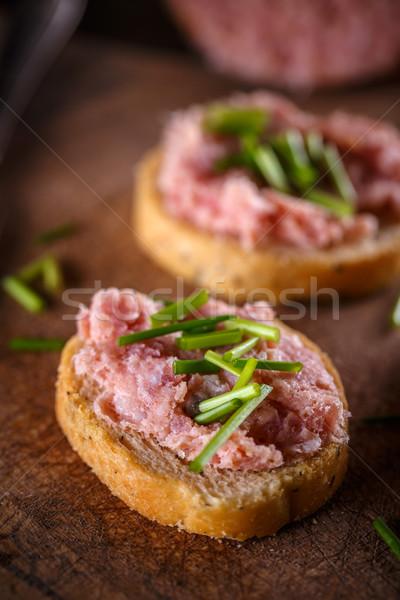 брускетта чай колбаса свежие хлеб Сток-фото © grafvision