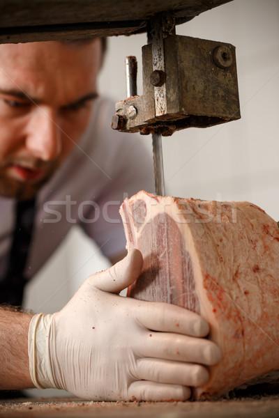 Hentes szeletel hús munka steak férfi Stock fotó © grafvision