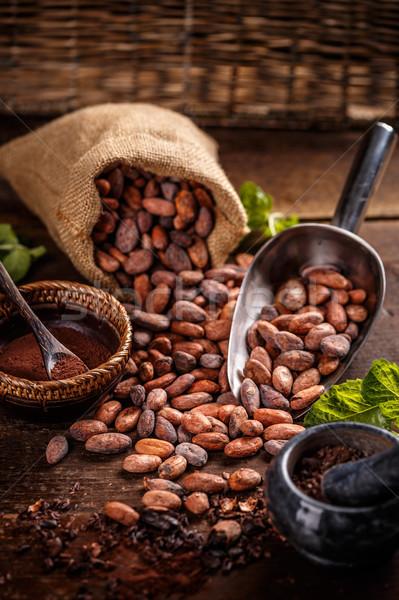 Stock foto: Still-Leben · Kakaobohnen · Holz · Schokolade · Jahrgang · Saatgut