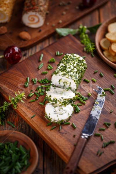 Kaas bieslook houten voedsel achtergrond Stockfoto © grafvision