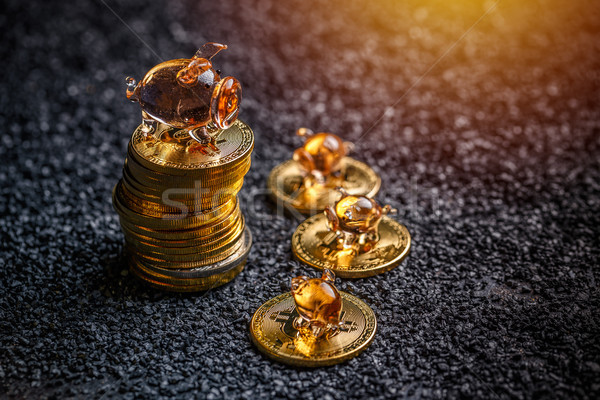 Golden bitcoins lie in a pile Stock photo © grafvision