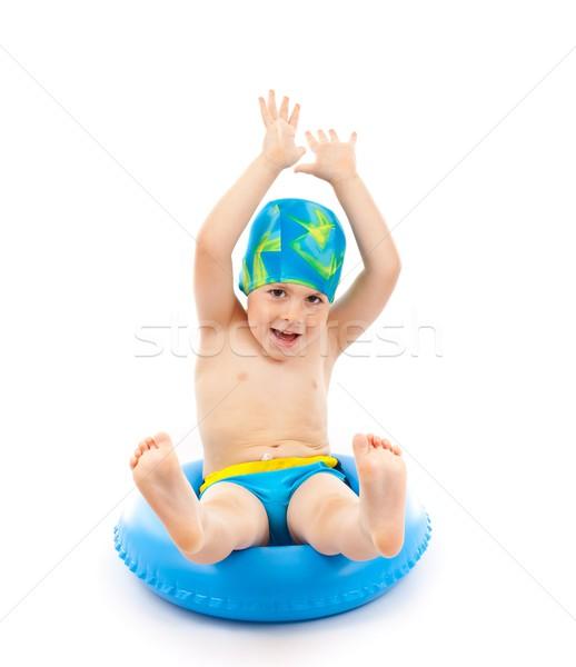 Ragazzo giocare blu vita anello divertente Foto d'archivio © grafvision