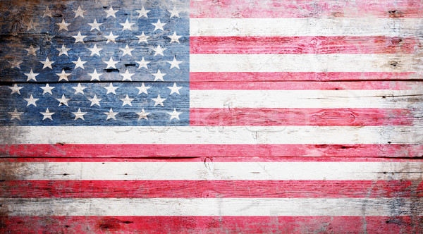 Zászló Egyesült Államok Amerika festett koszos fa Stock fotó © grafvision