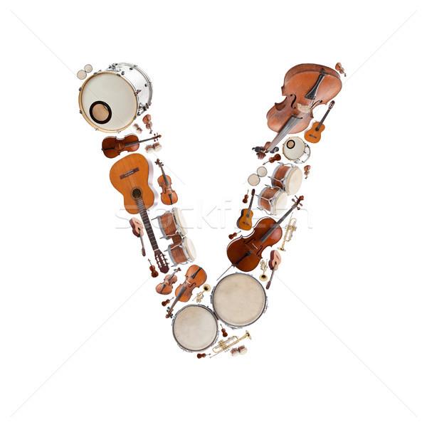 музыкальные инструменты письме алфавит белый дерево гитаре Сток-фото © grafvision