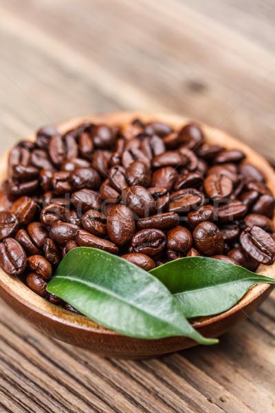 Chicchi di caffè ciotola caffè buio Cup Foto d'archivio © grafvision