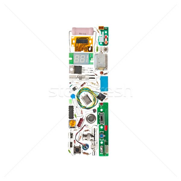 Elektronikus alkotóelemek levél i betű izolált fehér Stock fotó © grafvision