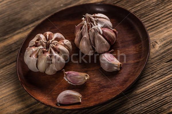 Stok fotoğraf: Ampul · sarımsak · ahşap · plaka · arka · plan · pişirme