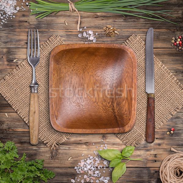 空っぽ 木製 プレート 風化した 木製のテーブル ハーブ ストックフォト © grafvision