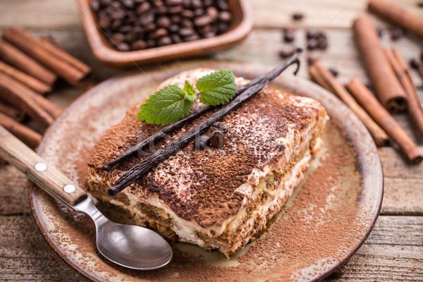 Tiramisu torta rústico estilo alimentos azúcar Foto stock © grafvision