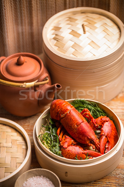 Homard fraîches bambou steamer alimentaire Photo stock © grafvision