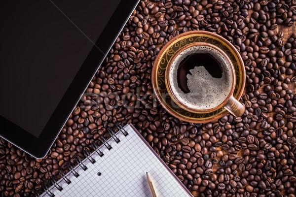ストックフォト: カップ · コーヒーカップ · コーヒー · ノートブック · コンピュータ