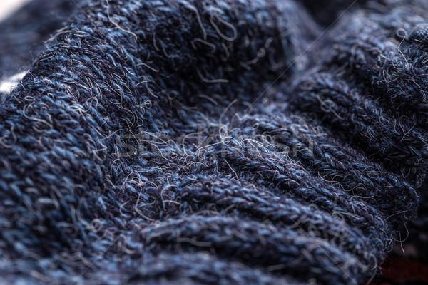 Blauw gebreid wol textuur mode achtergrond Stockfoto © grafvision
