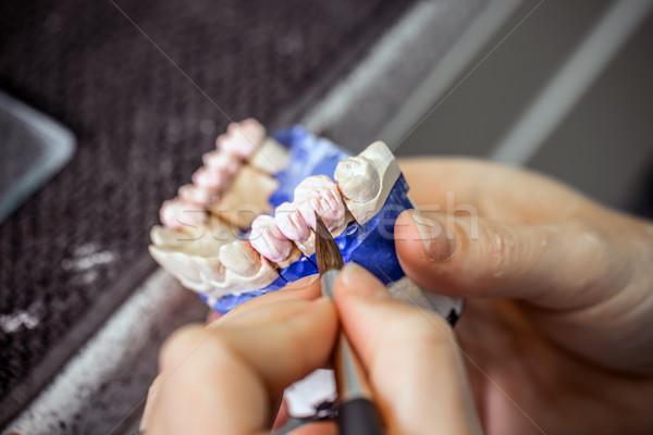 Foto stock: Dentales · técnico · de · trabajo · laboratorio · mano · pintura