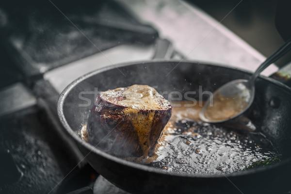 Suculento grelhado bife frigideira comida restaurante Foto stock © grafvision