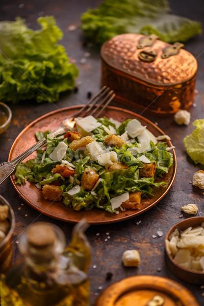 Gezonde eenvoudige caesar salade kaas voedsel achtergrond Stockfoto © grafvision