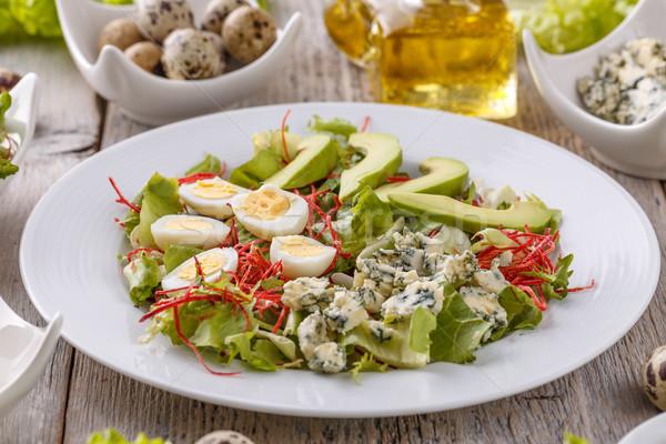 サラダ アボカド 卵 ブルーチーズ 白 プレート ストックフォト © grafvision