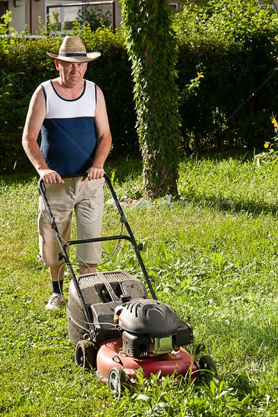 Homme pelouse supérieurs fleur maison printemps Photo stock © grafvision
