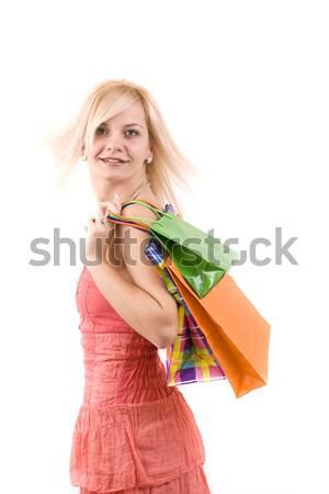 Shopping donna bella colore borse Foto d'archivio © grafvision