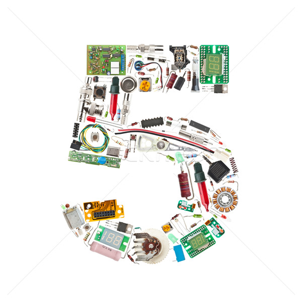 Number '5' made of electronic components Stock photo © grafvision