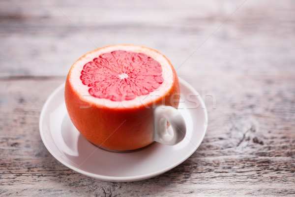 Fincan greyfurt ahşap masa gıda sağlık içmek Stok fotoğraf © grafvision