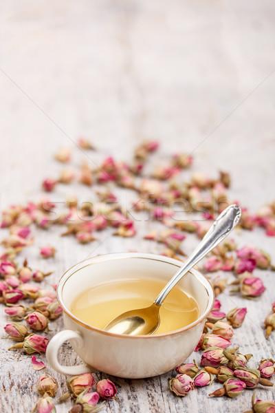 Fincan çay kurutulmuş gül içmek Stok fotoğraf © grafvision