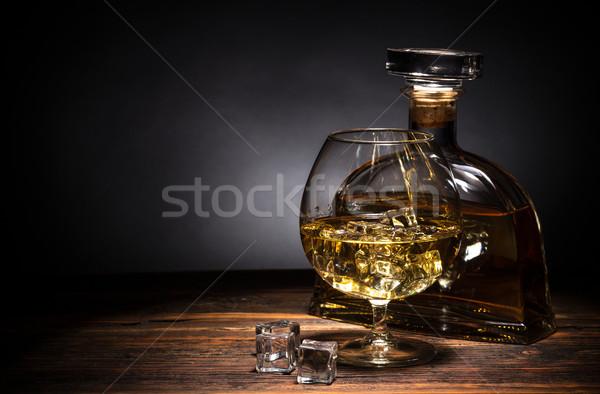Brandewijn glas ijs bar fles cocktail Stockfoto © grafvision
