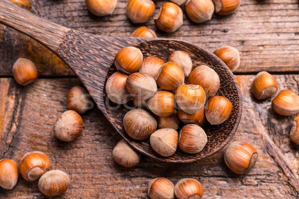 Hazelnoten top voedsel achtergrond Stockfoto © grafvision