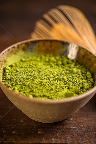 Foto stock: Té · crudo · orgánico · verde · tazón · beber