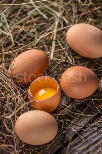 Braun Henne Eier rustikal Essen Ei Stock foto © grafvision