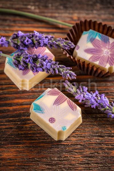 Stock fotó: Levendula · klasszikus · fából · készült · étel · csokoládé · desszert