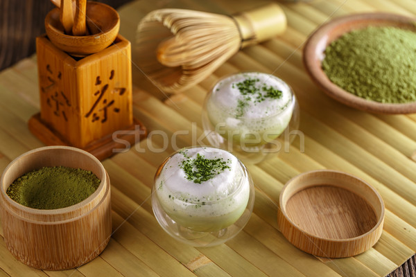 Matcha latte in a glass cup  Stock photo © grafvision