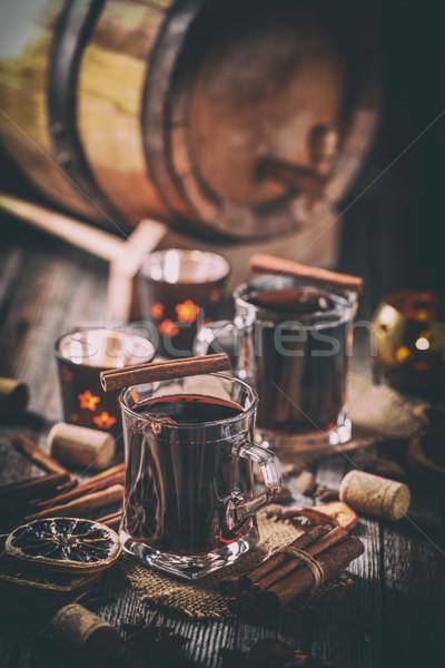 Sıcak şarap şarap kadehi kuru turuncu dilimleri Stok fotoğraf © grafvision