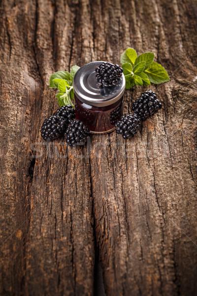 Saboroso amora preta congestionamento fresco rústico Foto stock © grafvision