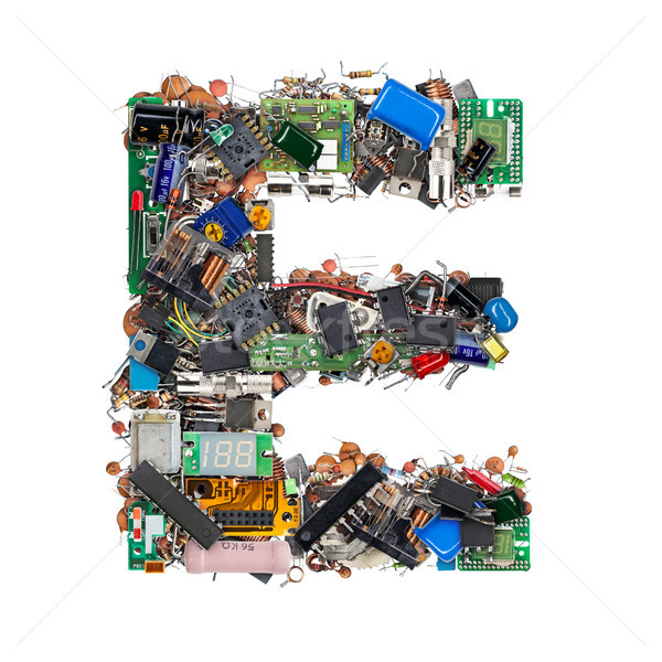 Letter E made of electronic components Stock photo © grafvision