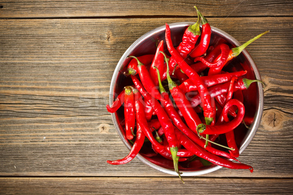 Red chili peppers in bowl  Stock photo © grafvision