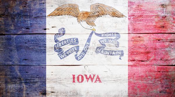 Zászló Iowa festett koszos fából készült textúra Stock fotó © grafvision