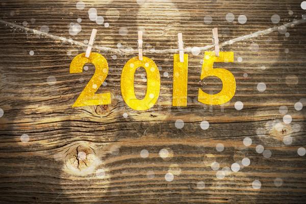 2015 nieuwjaar aantal decoratie hout winter Stockfoto © grafvision
