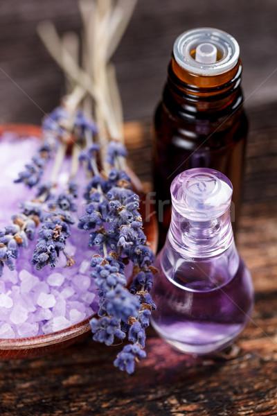 Zdjęcia stock: Lawendy · herb · kwiat · wody · szkła · butelki