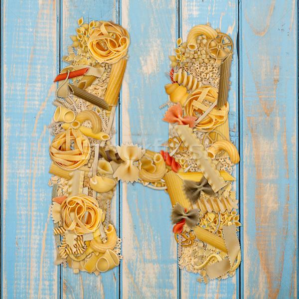 Lettre h pâtes bleu bois alimentaire fond Photo stock © grafvision