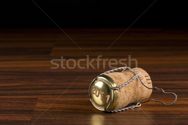 Szampana korka czarny selektywne focus pić życia Zdjęcia stock © grafvision