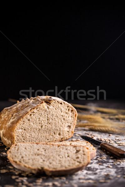 Ekmek rustik siyah gıda arka plan tahıl Stok fotoğraf © grafvision
