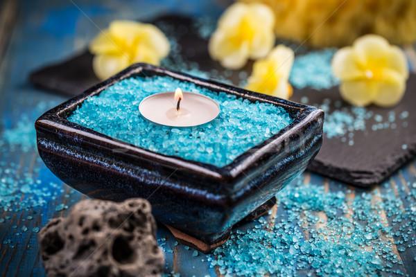Fürdősó gyertya fürdő wellness egészség szépség Stock fotó © grafvision