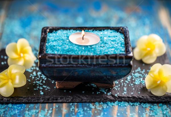 Spa relajación azul vela Foto stock © grafvision
