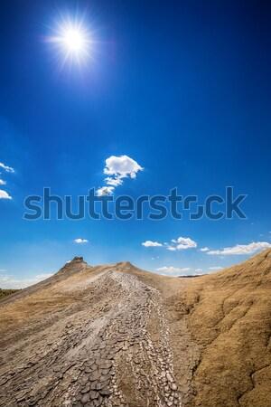 Uitbarsting modder koepel vulkanisch woestijn Blauw Stockfoto © grafvision